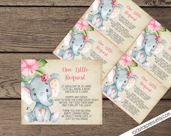 Elephant Girl Bring A Book Baby Shower Insert, INSTANT DOWNLOAD, Digital File, Printable _1302