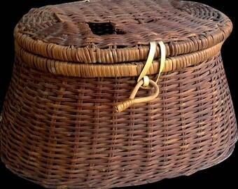 Vintage Creel Basket, Fishing Basket, Fishing Decor, Fishing Basket, Basket, Storage, Fishing Equipment, Outdoor Basket, Fishing Accessories