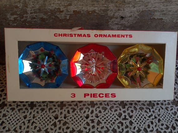 3 Piece Plastic Tree Ornaments, Christmas Decor, Stars and Angels, Retro, 1950's, Collectible, Tree Ornaments, Holiday Decor