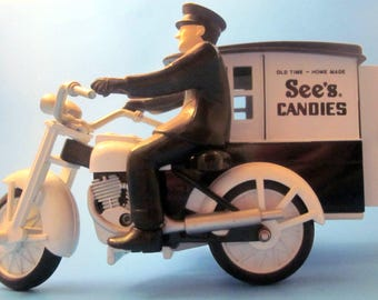 Replica of 1928 HARLEY MOTORCYCLE Customized with side-car  for Delivery of See's Candies, Die Cast