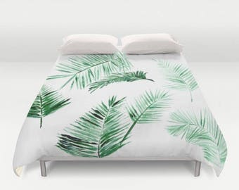 Palm Leaves Duvet Cover, palm bed cover, tropical duvet cover, green white duvet, palm leaf duvet, palm leaves duvet, modern duvet cover