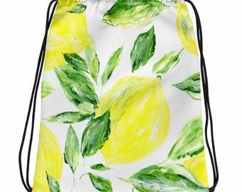 Lemon Drawstring Bag, lemon bag, drawstring bag