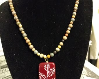 Bohemian wood and glass beaded pendant necklace