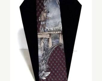 Fisherman necktie, 100% silk necktie, novelty necktie, fathers day gift, Henry Grethel Necktie,