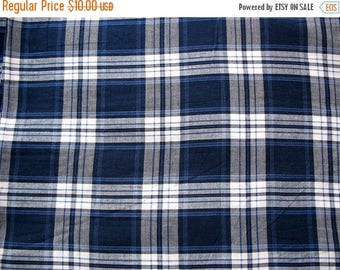 Flat 40% off Navy and White Yarn Dyed Woven Plaid Cotton Fabric Sold by Yard