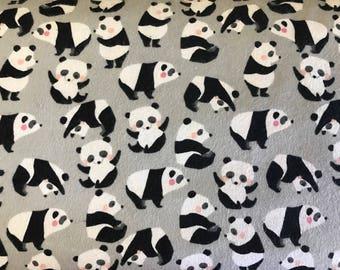 FLANNEL - Panda Flannel - Panda Fabric - Pandas on Gray Flannel - Pandas on Gray Fabric - Baby Panda - Panda Babies - Zoo Animals