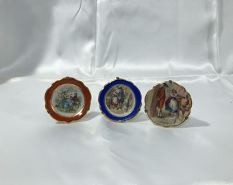 3 Vintage Fragonard Limoges France Miniature Plates Brass Transfer Ware Depicting French Life Courting Couple