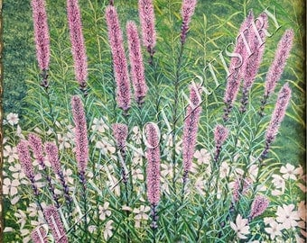 """16"""" X 20"""" High Resolution Stretched Canvas Print of Original Oil Painting - Garden of White on Mauve"""
