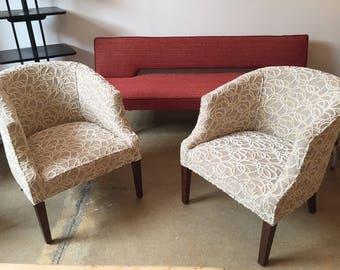 Vintage Pair Chairs New Velvet Upholstery