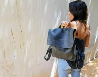 Leather Backpack Women, Laptop Backpack Bag, Messenger Backpack, Laptop Messenger Bag with Zipper, Messenger Bag, Leather Messenger Bag