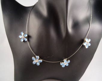 Silver necklace unique cable 4 unique blue flowers