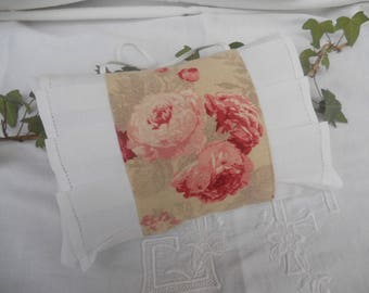 worn old linen ruffles pillow pink vintage shabby