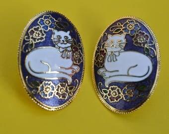 Vintage Earrings Dark Purple Enamel  Cloisonne  White Cat