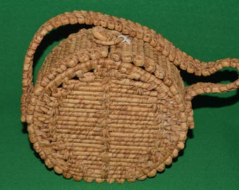Vintage Handbag Hand made Round Purse Straw  1960-70s