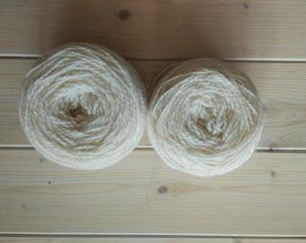 Sheep Wool Yarn For Knitting, Pure Wool, Undyed Natural Worsted Yarn, Handspun White Knitting Wool, Socks Knitting Yarn, Organic Fiber