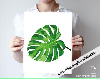 Printable art Abstract plant print monstera art, garden art, plant print Geometric, print Triangle art Geometric nature print Green art