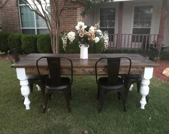 7f Farmhouse table and bench
