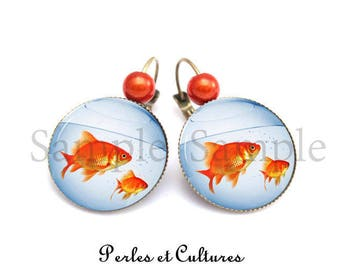 Goldfish blue orangeღ water cabochon ღaquarium vintage ღ ღ earrings romantic retro