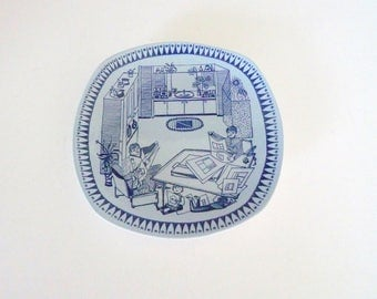 Figgjo Kitchen Decor Wall Hanging - Blue Wall Plate Norwegian House decoration by Kari Nyquist