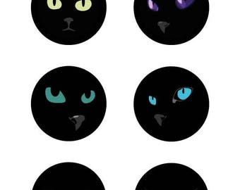 Images digital cat's eyes for badges and mirrors