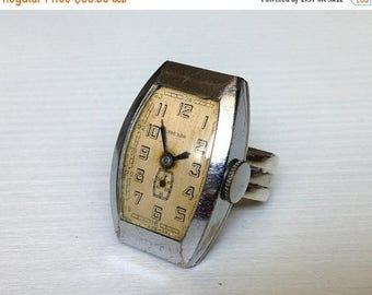 "ON SALE Silver Ring watch ""Zvezda"" (Star) ,Vintage ring watch ,Soviet watch ring, montre femme, Russian watch, Mechanical watch"