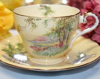 """AYNSLEY Bone China Teacup and Saucer Set """"Bluebell Time"""""""