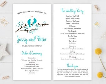 PRINTED Wedding ceremony programs | Marriage programs | Lovebird wedding programs