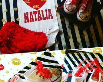 Usc, baby, girl, 1st birthday, onesie,bloomers.  Shose sold separately