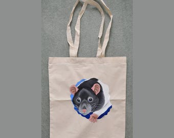 Black Hooded Rat Tote Bag - Great for Rat Related Shopping!