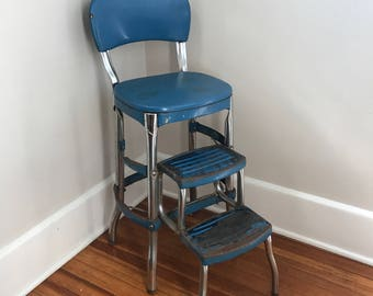 Cosco Shabby Chic Kitchen Stool,Blue, Kitchen Chair, Step Stool
