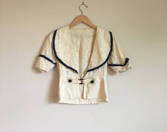 Antique Turn of the Century Edwardian Cotton Waistcoat Sailor Look