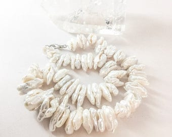 SALE Chunky White Freshwater Pearl Necklace