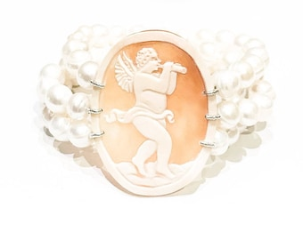 3 Row Cameo and Pearl Bracelet