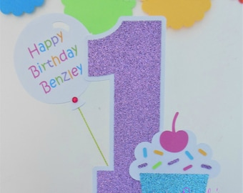 Cupcake Cake Topper - Centerpiece Stick - Cupcake with Sprinkles - 1st-First Birthday - Glitter Purple, Aqua, Candy Pink, Yellow, Lime Green