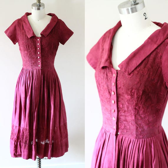 1950s cotton day dress // summer dress // vintage dress