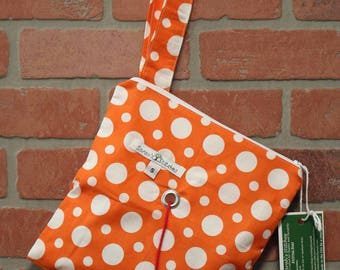 Knitting Bag, Crochet, Knit, Yarn, Wool, Orange, Yarn Storage, Yarn Bag with Hole, Grommet, Handle, SYB111
