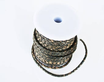 50cm leather cord braided dark brown 4mm