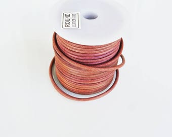2 meters mahogany 3mm round leather