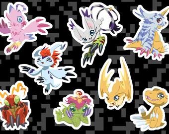 DIGIMON ADVENTURE 01 STICKERS. Gatomon, Patomon, Gabumon, Agumon, Gomamon, Biyomon, Palmon, Tentomon Digital Monsters Vinyl Sticker Sheet.