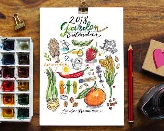 2018 Calendar. Illustrated Garden. 5x7. Seasonal fruit and vegetables. Gift for gardener. Food art. Desk or wall calendar. Home decor.