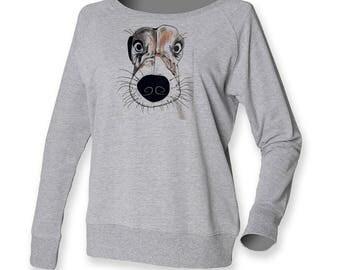 Jack Russel jumper, terrier sweatshirt, hound dog sweat, doggy lover, dog owner gift, off shoulder top, gift for her