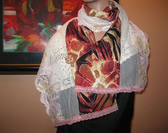 """scarf/shawl is hand - lace and fabric - """"gazania"""""""