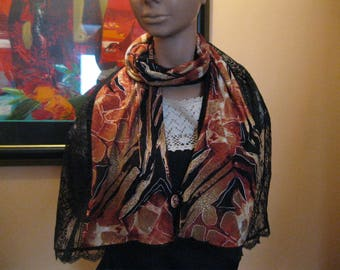 """scarf/shawl is hand - lace and fabric - """"gazelle"""""""