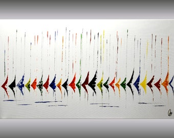 Acrylic painting abstract painting Sailboat Painting wall art canvas art huge colorful painting 72 x 40 large wall art Ettis Gallery