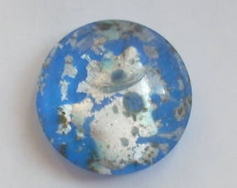 Round 1 x 16mm blue Dichroic Glass cabochon