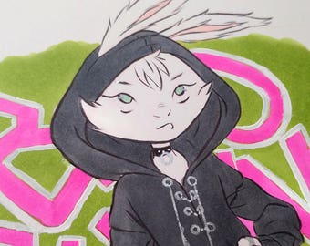 Original INKtober Fashion Piece 'Bad Bunny', Original Art, Original Artwork, Fashion Rabbit Art Piece