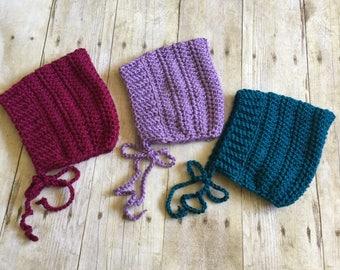 Crochet bonnet set, baby bonnet, pixie bonnet