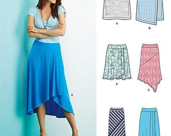KNIT SKIRT with 6 Variations Pattern by Simplicity SO845 and 1163 Size 4-12