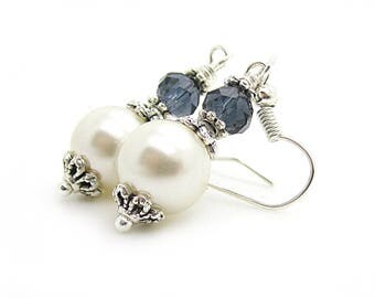 Navy Bridesmaid Earrings, Ivory Pearl Drops, Dark Blue Bridesmaid Jewellery, Ivory Navy Wedding, Bridal Party Gifts, Crystal Dangles,