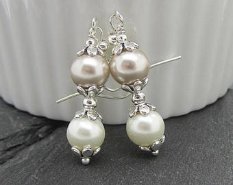 Taupe and Ivory Pearl Bridesmaid Earrings, Beige Wedding Jewellery, Pearl Bridal Earrings, Pearl Drops, Matching Wedding Sets,